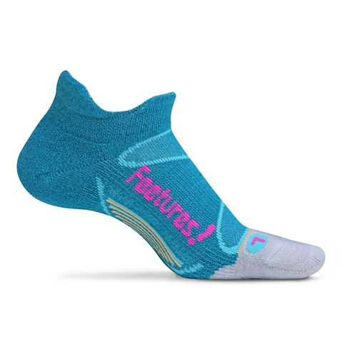 Feetures Elite Merino+ Light Cushion No Show Tab Socks - Teal/Fuschia M