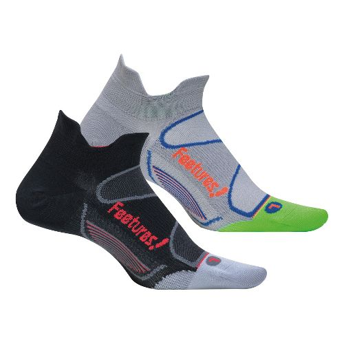 Feetures Elite Ultra Light No Show Tab 2 pack Socks - Black L