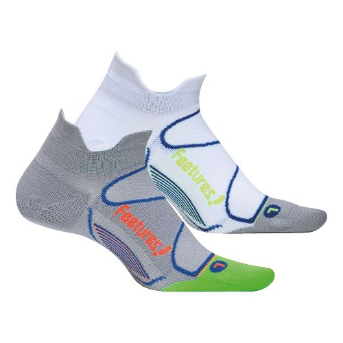 Feetures Elite Ultra Light No Show Tab 2 pack Socks - Grey L