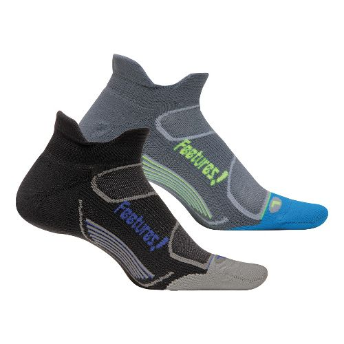 Feetures Elite Light Cushion No Show Tab 2 pack Socks - Black M