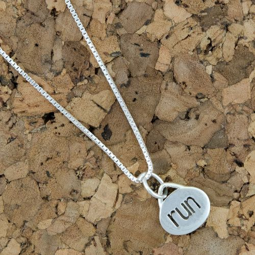 Gone For a Run Oval Run Necklace Fitness Equipment - Sterling/Silver