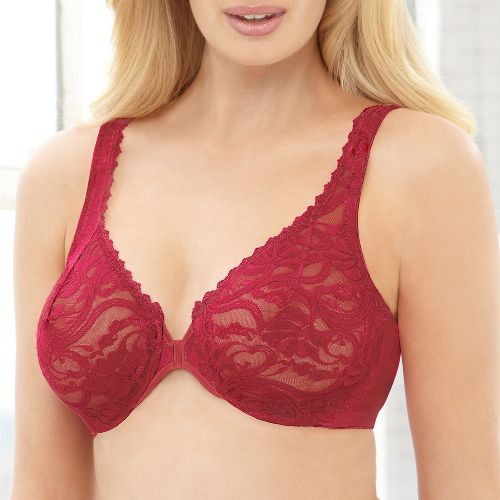 Womens Glamorise Front Closing Stretch Lace Wonderwire Inner Bras - Red 44C