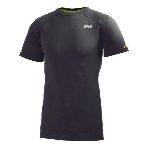 Mens Helly Hansen Pace Short Sleeve Technical Tops - Ebony/Lime XXL