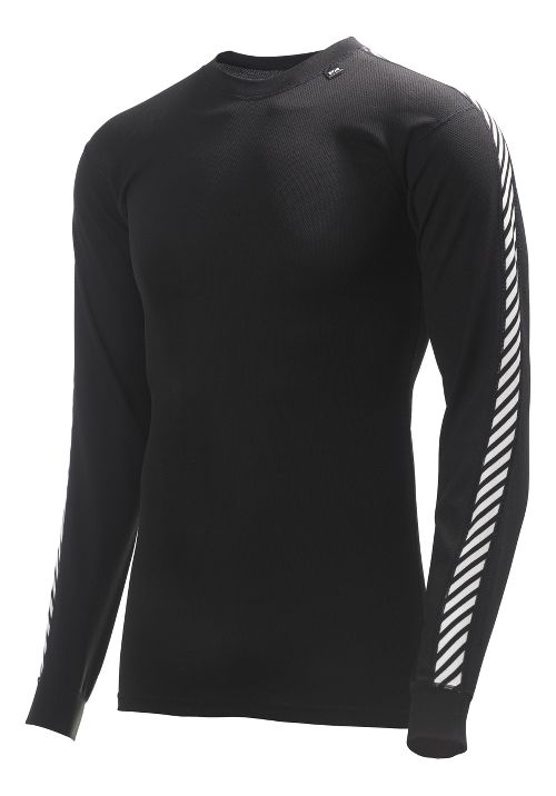 Mens Helly Hansen HH Dry Stripe Crew Long Sleeve Technical Tops - Black XXXL