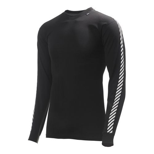 Mens Helly Hansen HH Dry Stripe Crew Long Sleeve No Zip Technical Tops - Black ...