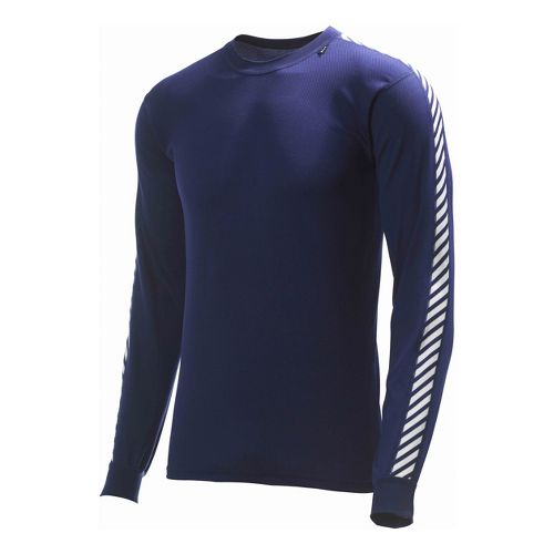 Mens Helly Hansen HH Dry Stripe Crew Long Sleeve No Zip Technical Tops - Navy ...