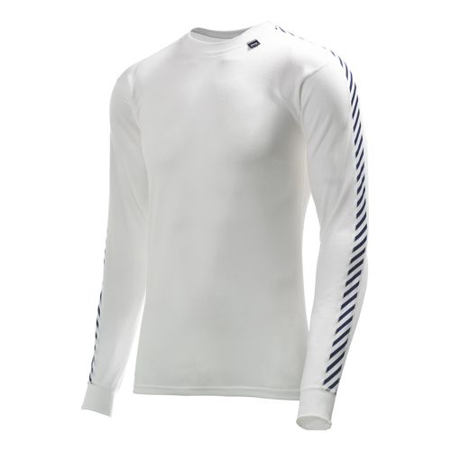 Mens Helly Hansen HH Dry Stripe Crew Long Sleeve No Zip Technical Tops - White ...