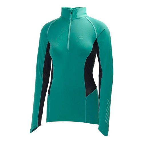 Womens Helly Hansen Pace 2 Long Sleeve 1/2 Zip Technical Tops - Brite Turquoise M ...