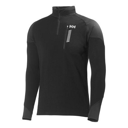 Mens Helly Hansen HH Warm Run Long Sleeve 1/2 Zip Technical Tops - Black S ...