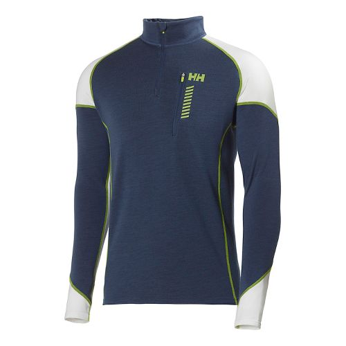 Mens Helly Hansen HH Warm Run Long Sleeve 1/2 Zip Technical Tops - Deep Steel ...
