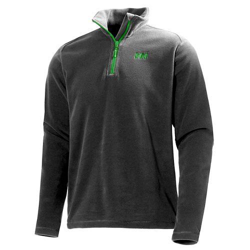 Mens Helly Hansen Daybreaker 1/2 Zip Fleece Long Sleeve Technical Tops - Ebony/Green Logo S ...