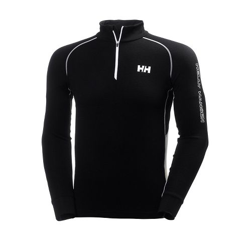 Mens Helly Hansen HH Warm High Neck 1/2 Zip Long Sleeve Technical Tops - Black/White ...