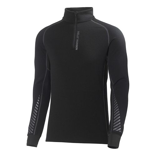 Mens Helly Hansen HH Warm High Neck Long Sleeve 1/2 Zip Technical Tops - Black ...