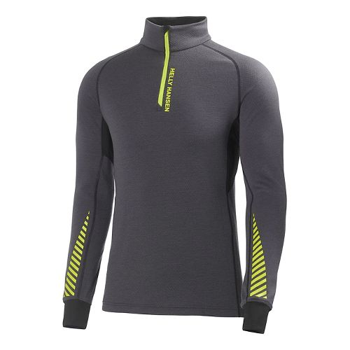 Mens Helly Hansen HH Warm High Neck Long Sleeve 1/2 Zip Technical Tops - Ebony ...