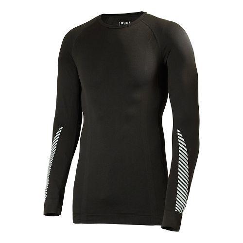 Mens Helly Hansen HH Dry Elite Long Sleeve No Zip Technical Tops - Black XXL ...