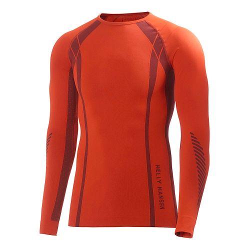 Mens Helly Hansen HH Dry Elite Long Sleeve No Zip Technical Tops - Sunrise L ...