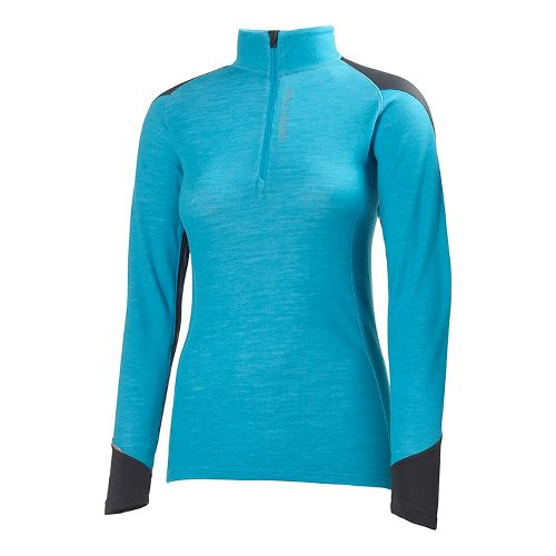 Womens Helly Hansen HH Warm Run Long Sleeve 1/2 Zip Technical Tops - Frozen Blue ...