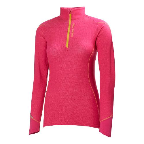 Womens Helly Hansen HH Warm Run Long Sleeve 1/2 Zip Technical Tops - Magenta L ...