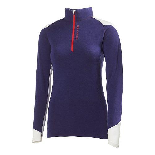 Womens Helly Hansen HH Warm Run Long Sleeve 1/2 Zip Technical Tops - Noric Purple ...
