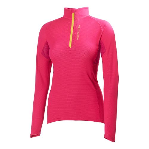 Womens Helly Hansen Pace Lifa Flow Long Sleeve 1/2 Zip Technical Tops - Magenta M ...
