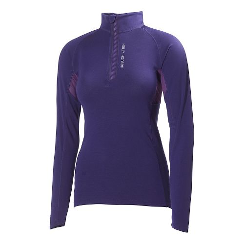 Womens Helly Hansen Pace Lifa Flow Long Sleeve 1/2 Zip Technical Tops - Noric Purple ...