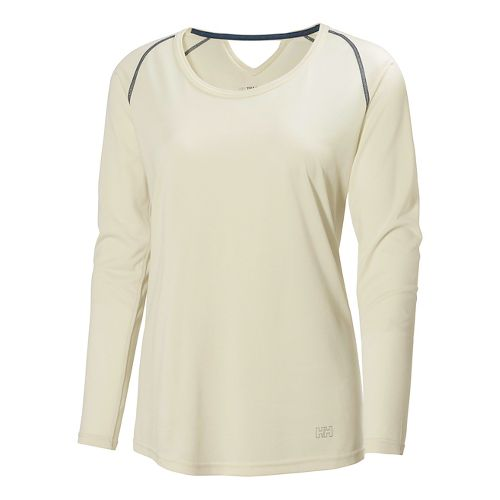 Womens Helly Hansen Early Bird Long Sleeve No Zip Technical Tops - Eggshell XL