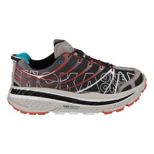 Mens Hoka One One Stinson Evo Trail Running Shoe - Black/Red 9.5