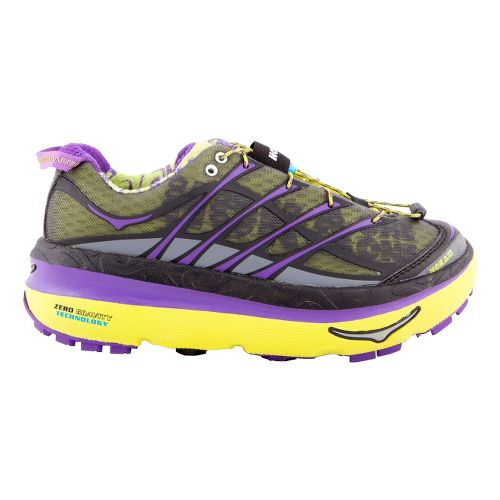 Womens Hoka One One Mafate 3 Trail Running Shoe - Lime/Purple 7.5