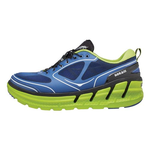 Mens Hoka One One Conquest Running Shoe - Blue/Lime 10.5