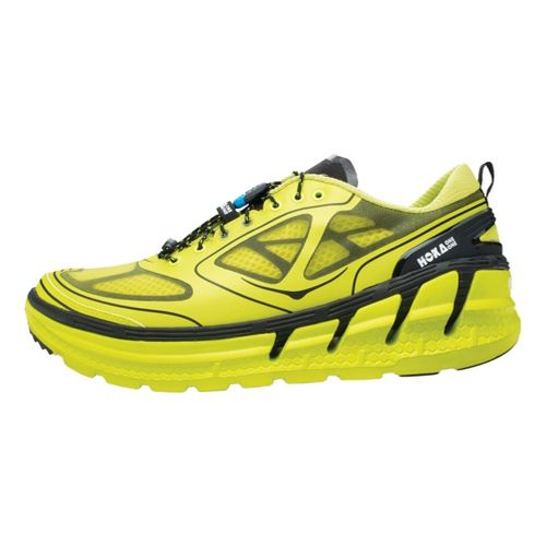 Mens Hoka One One Conquest Running Shoe - Citron/Black 12.5