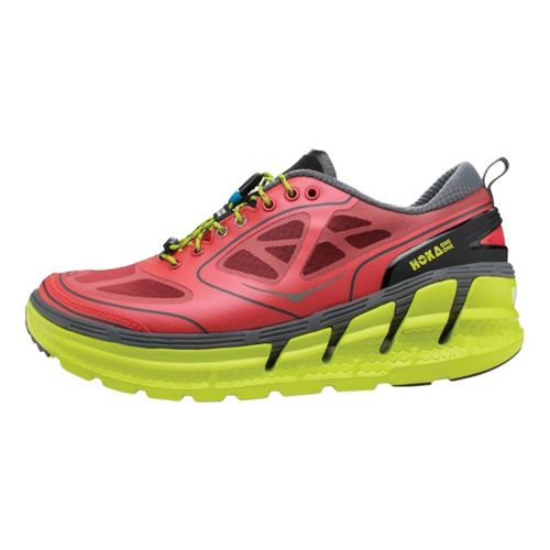 Womens Hoka One One Conquest Running Shoe - Pink/Citron 9.5