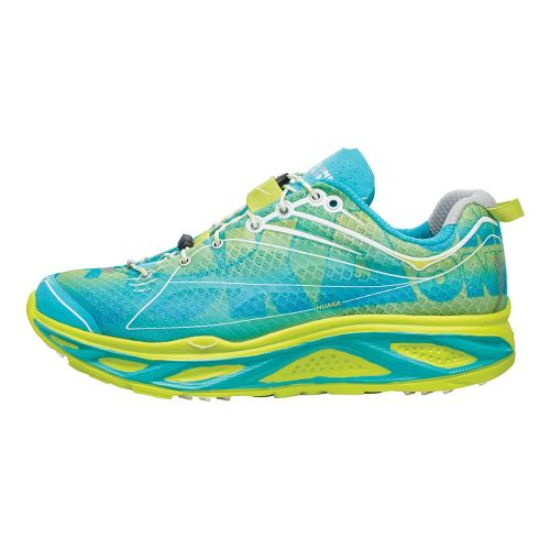 Womens Hoka One One Huaka Running Shoe - Aqua/Lime 7.5