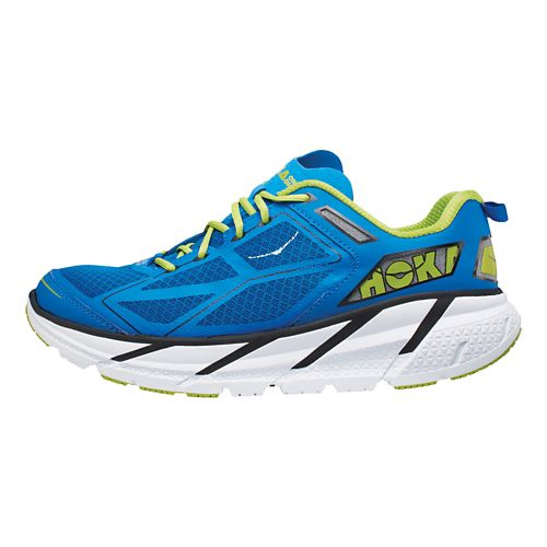 Mens Hoka One One Clifton Running Shoe - Blue/Lime 8.5