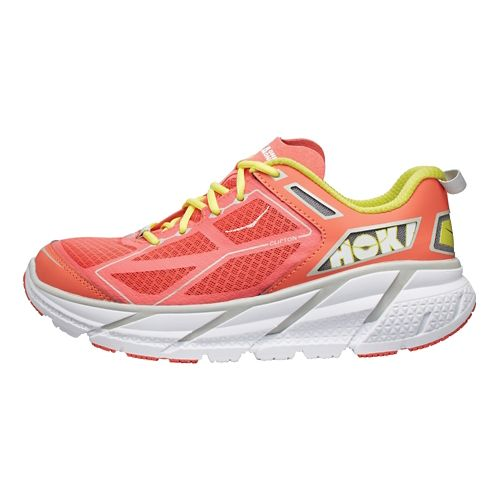 Womens Hoka One One Clifton Running Shoe - Coral/White 10.5