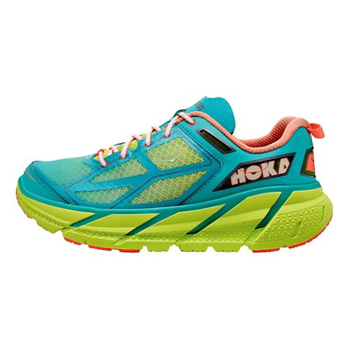 Womens Hoka One One Clifton Running Shoe - Aqua/Lime 7.5