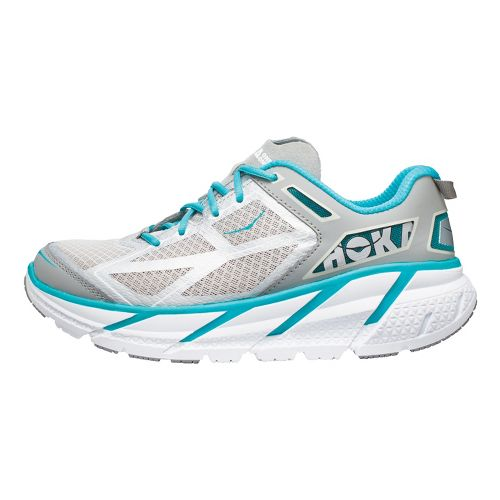 Womens Hoka One One Clifton Running Shoe - Grey/Turquoise 8.5