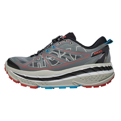 Mens Hoka One One Stinson ATR Trail Running Shoe - Anthracite/Red 12