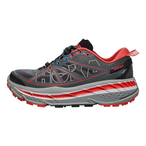 Womens Hoka One One Stinson ATR Trail Running Shoe - Grey/Coral 10.5
