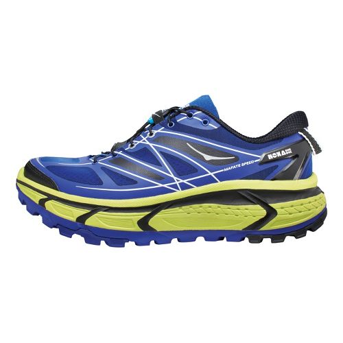 Mens Hoka One One Mafate Speed Trail Running Shoe - Blue/Lime 10.5