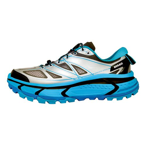 Womens Hoka One One Mafate Speed Trail Running Shoe - Grey/Blue 8