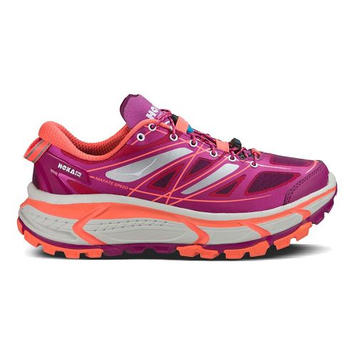 Womens Hoka One One Mafate Speed Trail Running Shoe - Aster/Neon Coral 7.5