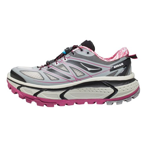 Womens Hoka One One Mafate Speed Trail Running Shoe - Grey/Pink 6.5