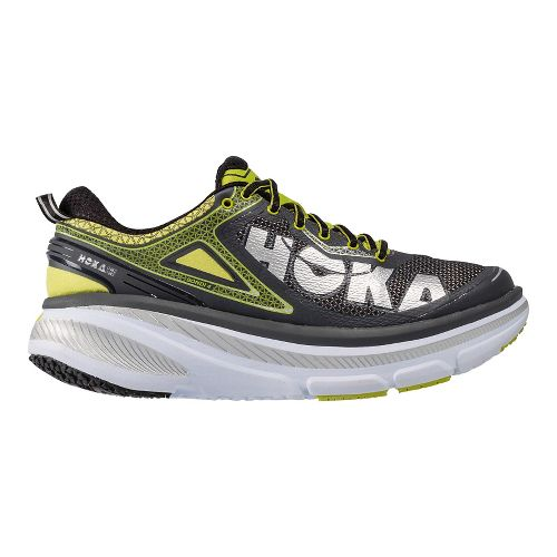 Mens Hoka One One Bondi 4 Running Shoe - Grey/Acid 12
