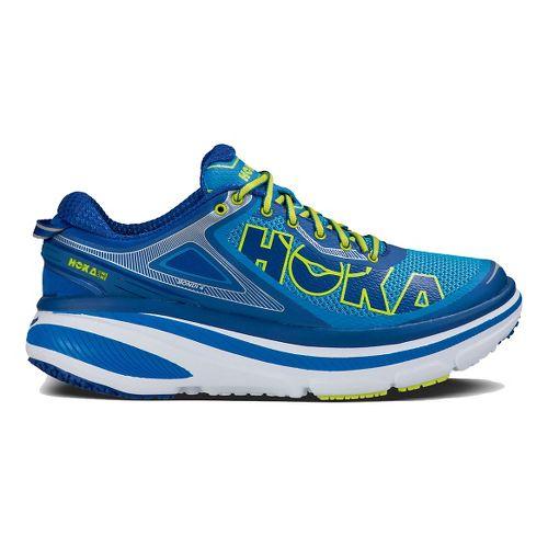 Mens Hoka One One Bondi 4 Running Shoe - Blue/Lime 10.5