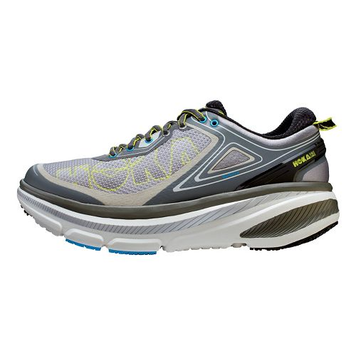 Mens Hoka One One Bondi 4 Running Shoe - Grey/Citrus 10