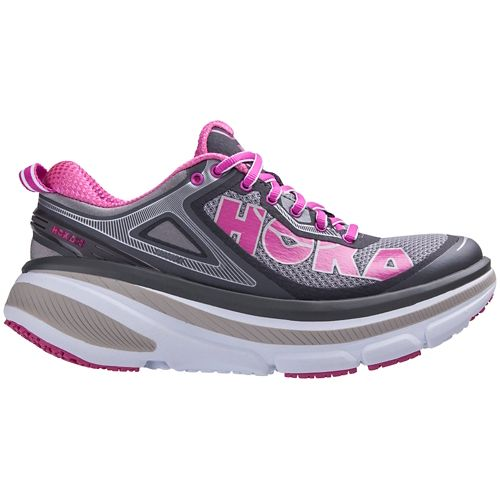 Womens Hoka One One Bondi 4 Running Shoe - Grey/Pink 7