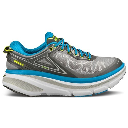 Womens Hoka One One Bondi 4 Running Shoe - Grey/Blue 10