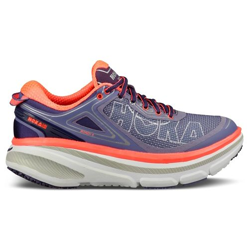 Womens Hoka One One Bondi 4 Running Shoe - Purple/Coral 7
