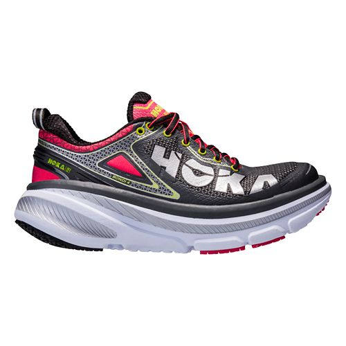 Womens Hoka One One Bondi 4 Running Shoe - Grey/Pink 10