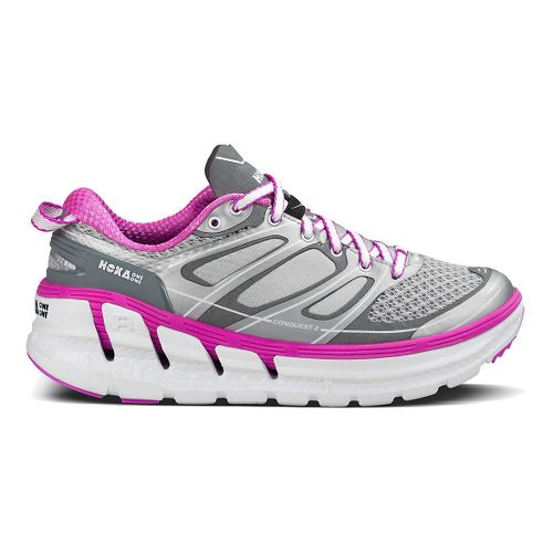 Womens Hoka One One Conquest 2 Running Shoe - Silver/Fushia 5